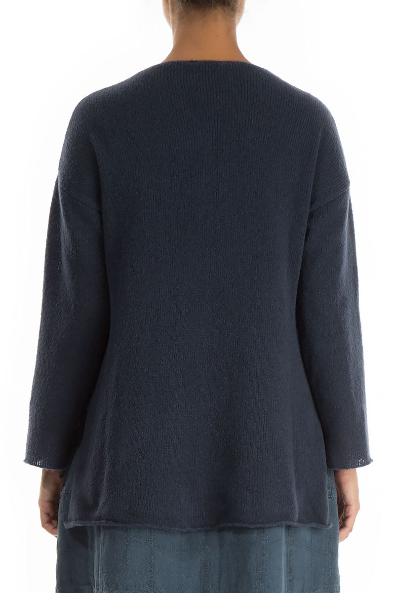 Asymmetrical Navy Wool Cardigan