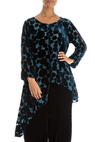 Asymmetrical Peacock Blue Silk Velvet Tunic