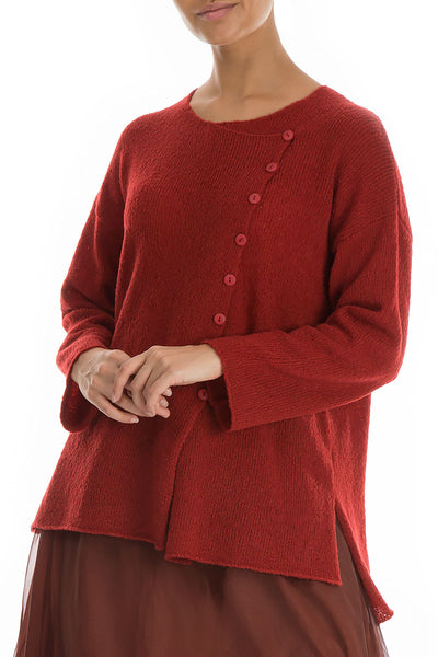 Asymmetrical Red Wool Cardigan