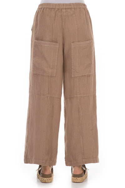 Back Pockets Cappuccino Linen Trousers