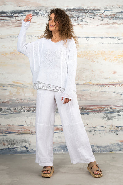 Back Pockets White Linen Trousers