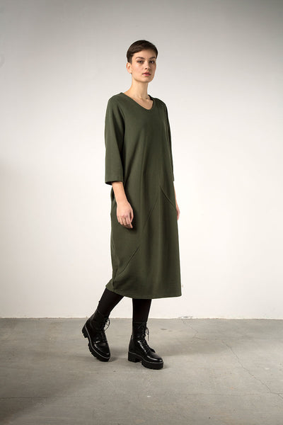 Balloon Khaki Jersey Cotton Dress