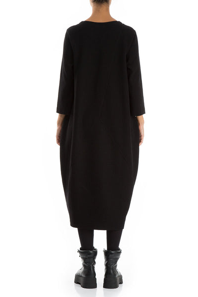 Balloon Black Cotton Jersey Dress