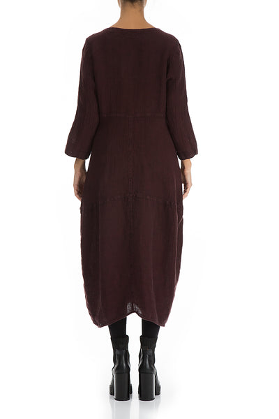 Balloon Burgundy Linen Dress