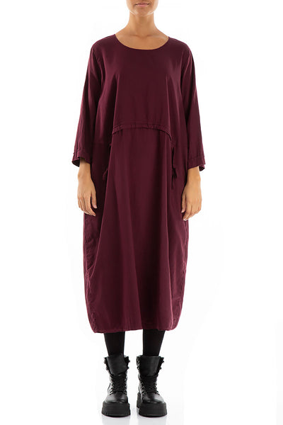 Balloon Wine Silk Cotton Dress