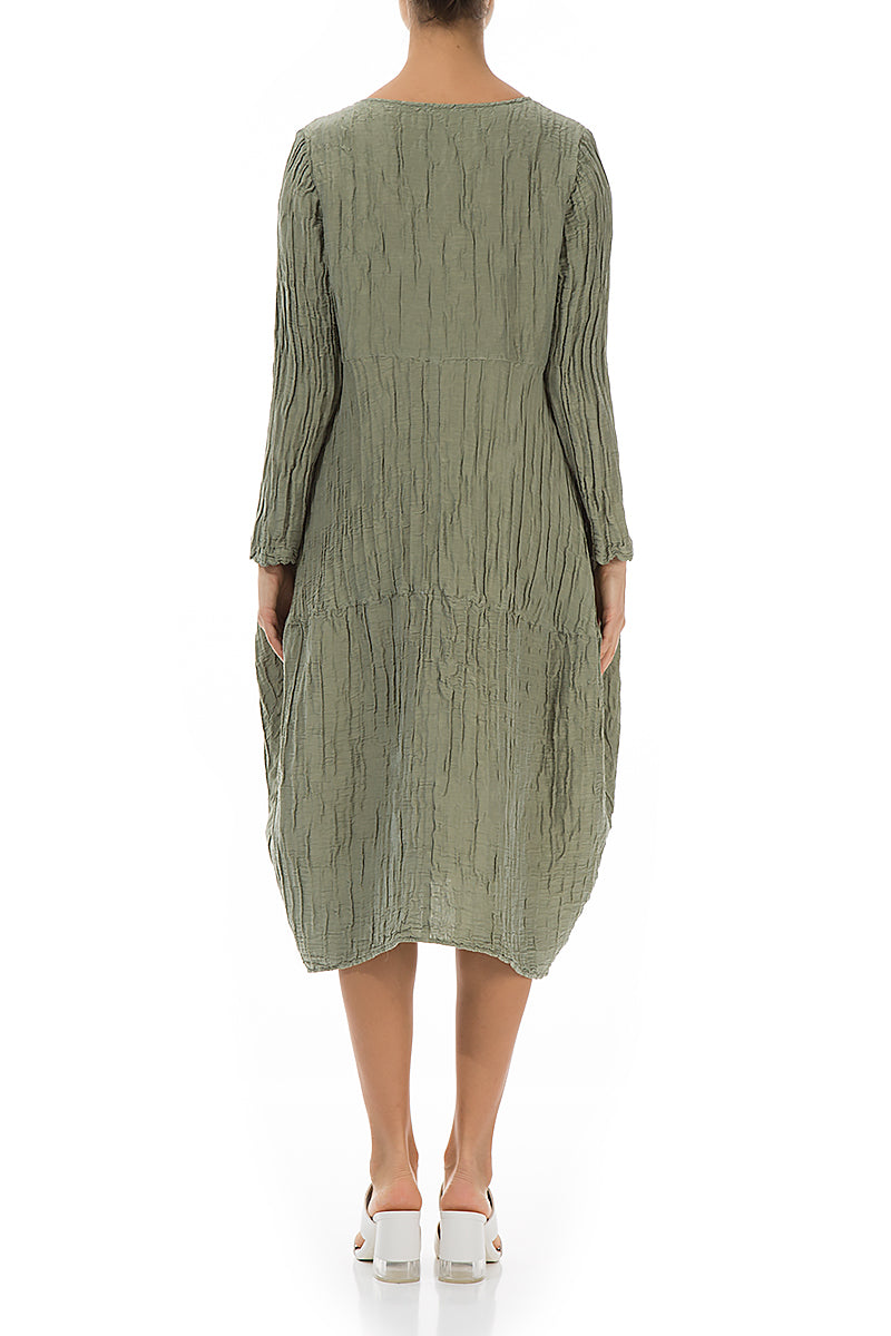 Balloon Crinkled Olive Silk Linen Dress