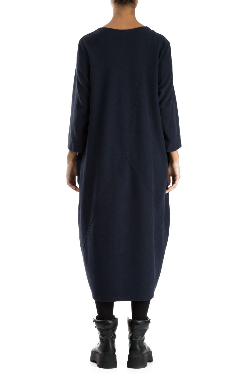 Balloon Dark Blue Cotton Jersey Dress