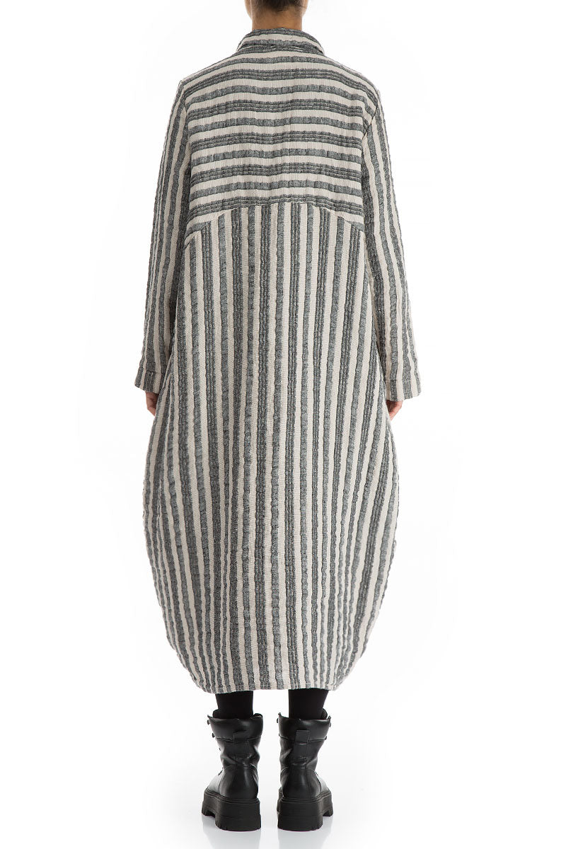 Balloon Stripy Textured Linen Jacket