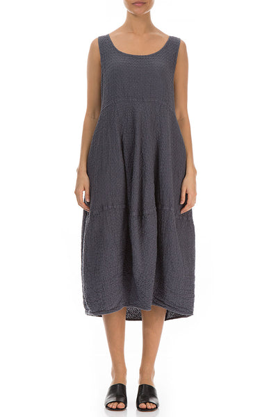 Balloon Textured Graphite Linen Dress