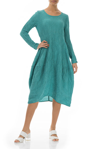 Balloon Waves Aqua Green Silk Dress