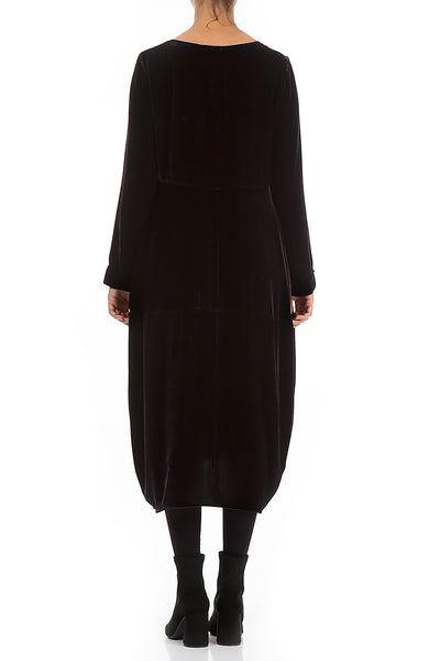 Balloon Black Velvet Dress - GRIZAS | Natural Contemporary Womenswear