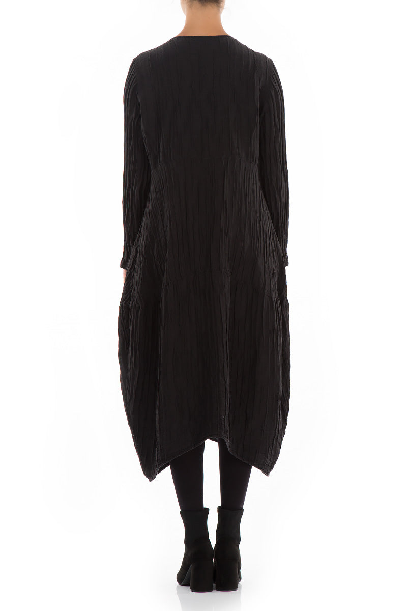 Balloon Crinkled Black Silk Dress - GRIZAS | Natural Contemporary Womenswear