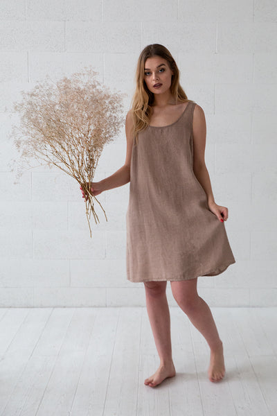 Cappuccino Linen Night Dress