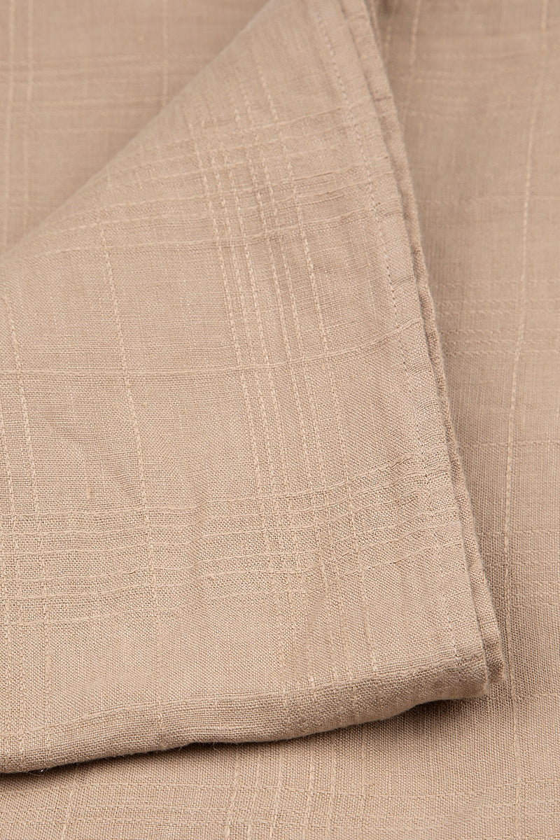 Beige Textured Soft Linen Tablecloth