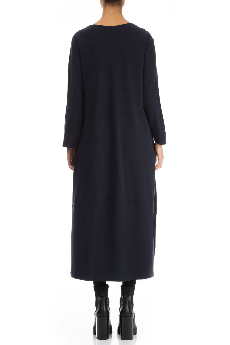 Bell Shape Dark Blue Cotton Jersey Dress