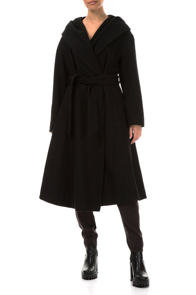 Belted Black Wool Coat