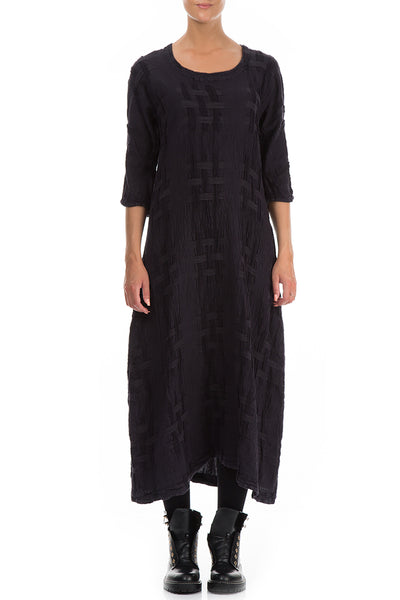 Woven Texture Black Linen Dress