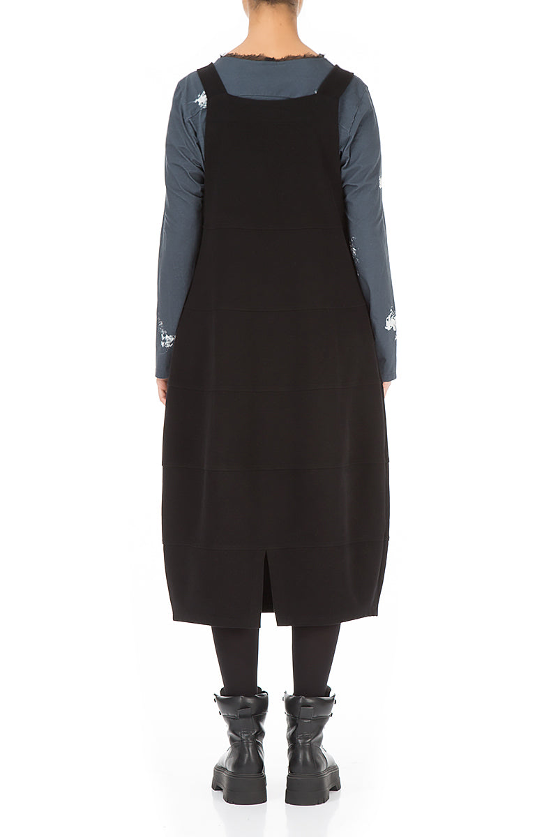 Black Cotton Jersey Balloon Overall Dress