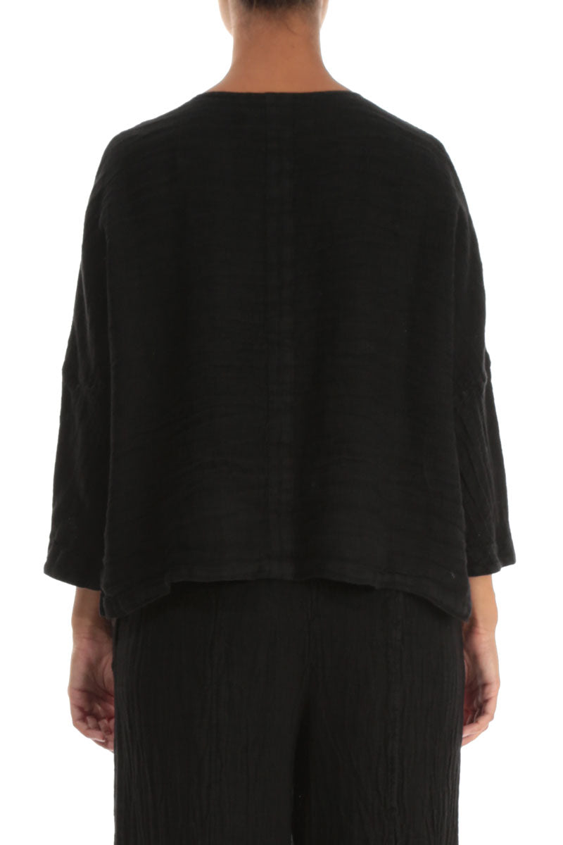 Black Linen Jacket Blouse