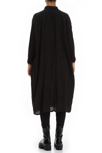 Black Silk Bamboo Shirt Dress - GRIZAS | Natural Contemporary Womenswear