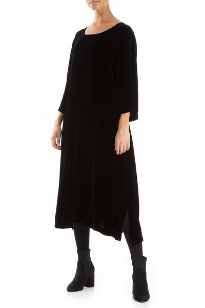 Black Silk Velvet Shift Dress