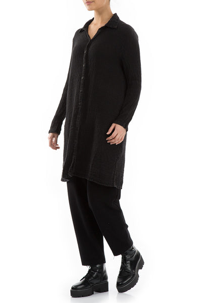Black Linen Cotton Shirt - GRIZAS | Natural Contemporary Womenswear