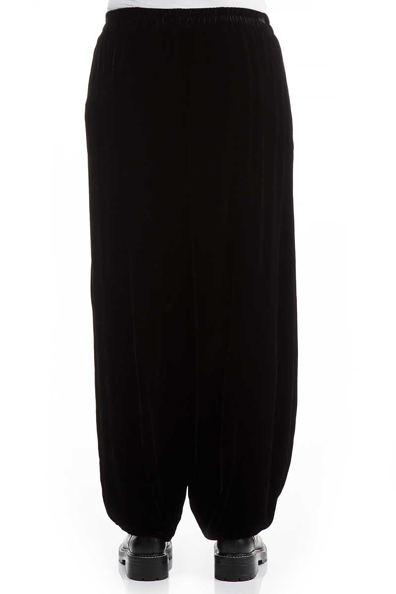 Long Black Silk Velvet Trousers - GRIZAS | Natural Contemporary Womenswear
