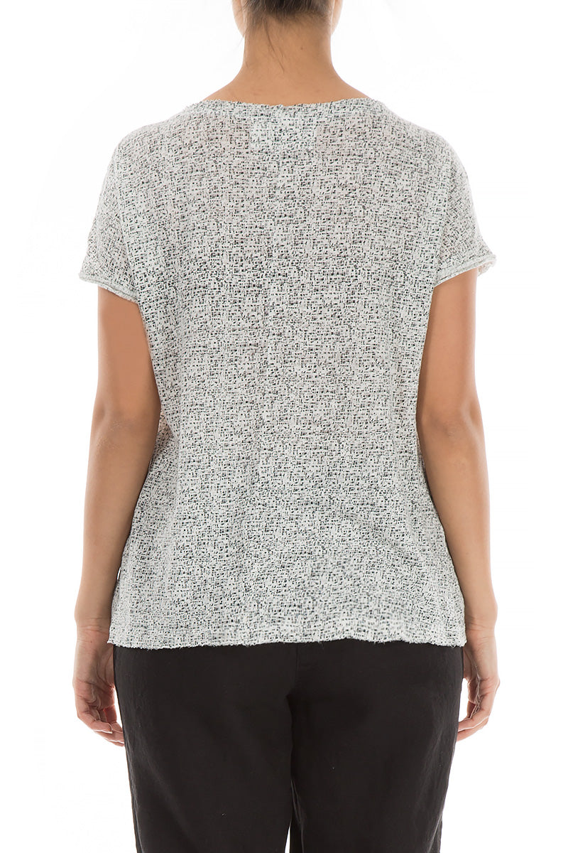 Black & White Printed Thin Linen Top - GRIZAS | Natural Contemporary Womenswear