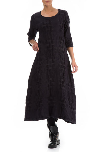 Woven Texture Black Linen Dress - GRIZAS | Natural Contemporary Womenswear