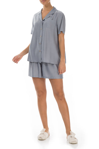 Blue Iris Silk Bamboo Pyjama Set