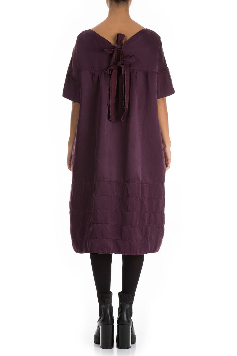 Bow Tie Back Wine Silk Linen Dress