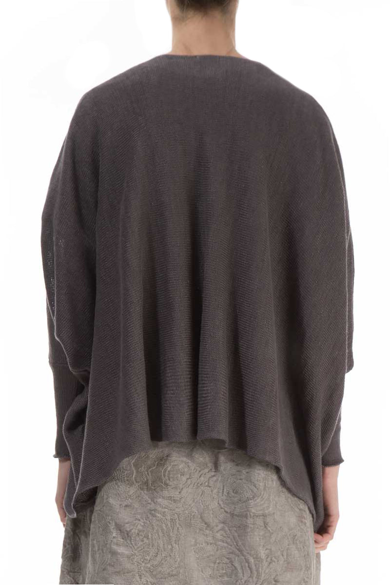 Boxy Brown Linen Cardigan