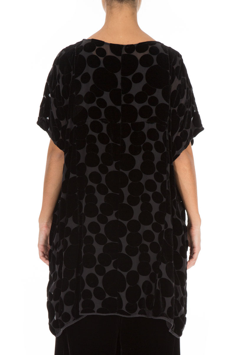 Boxy Devoré Bubbles Black Silk Velvet Tunic