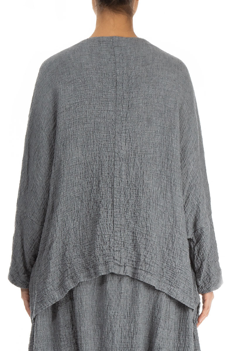 Boxy Grey Wool Blouse - Jacket
