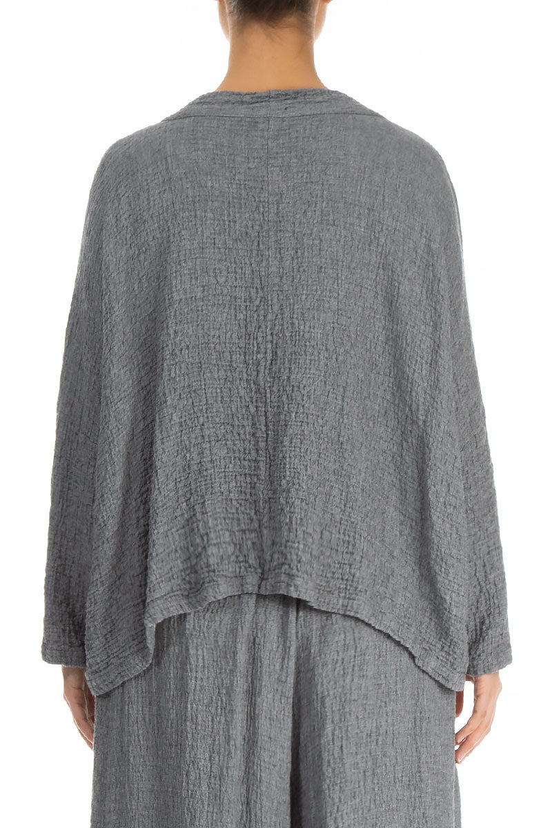 Boxy Grey Wool Blouse