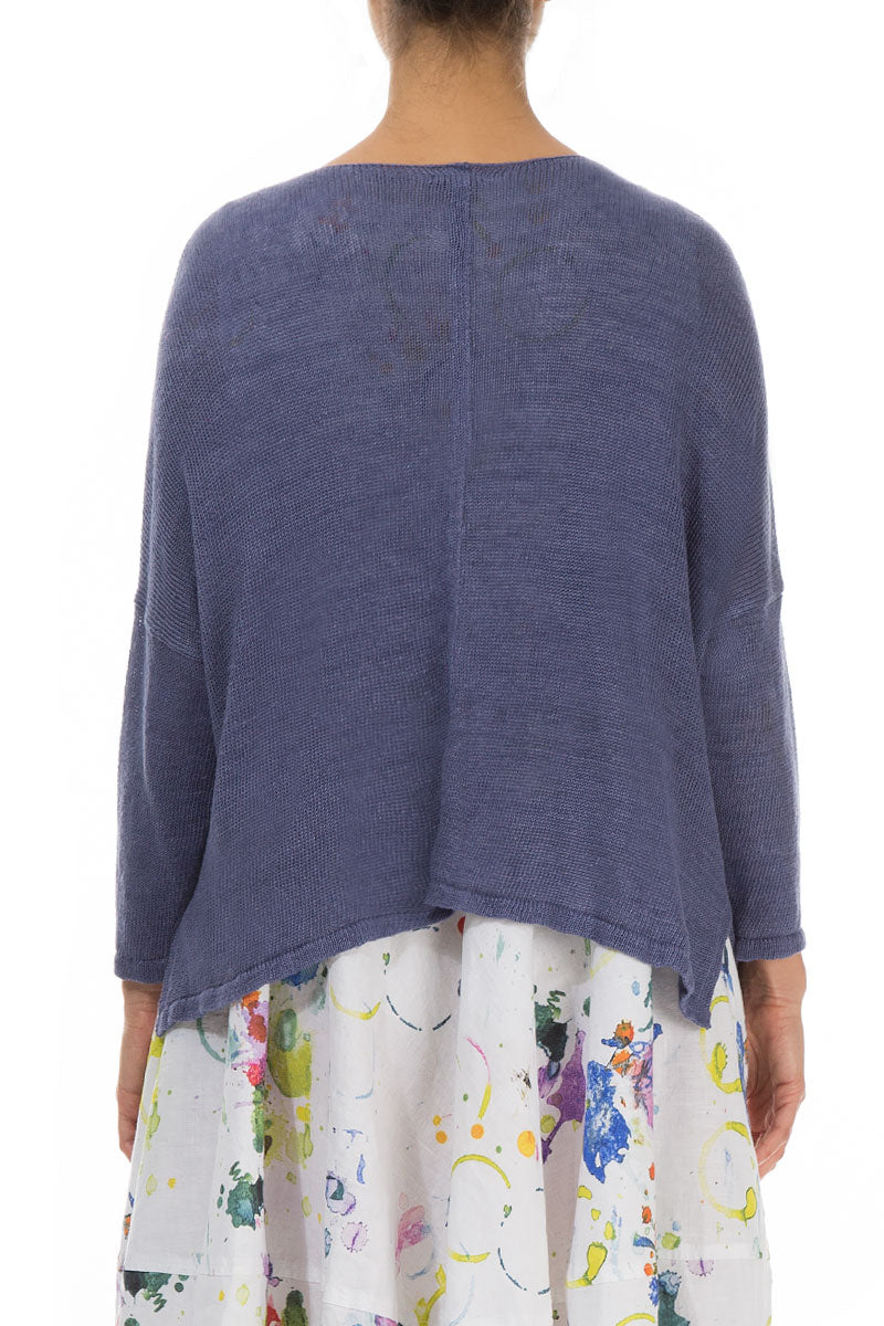 Boxy Purple Linen Cardigan