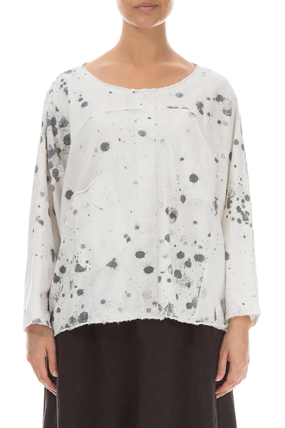 Boxy Splash White Cotton Blouse