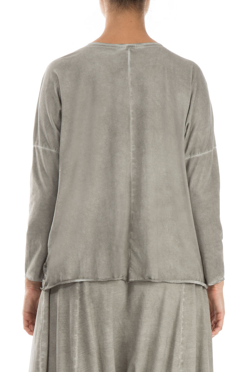 Boxy Washed Out Taupe Cotton Jumper