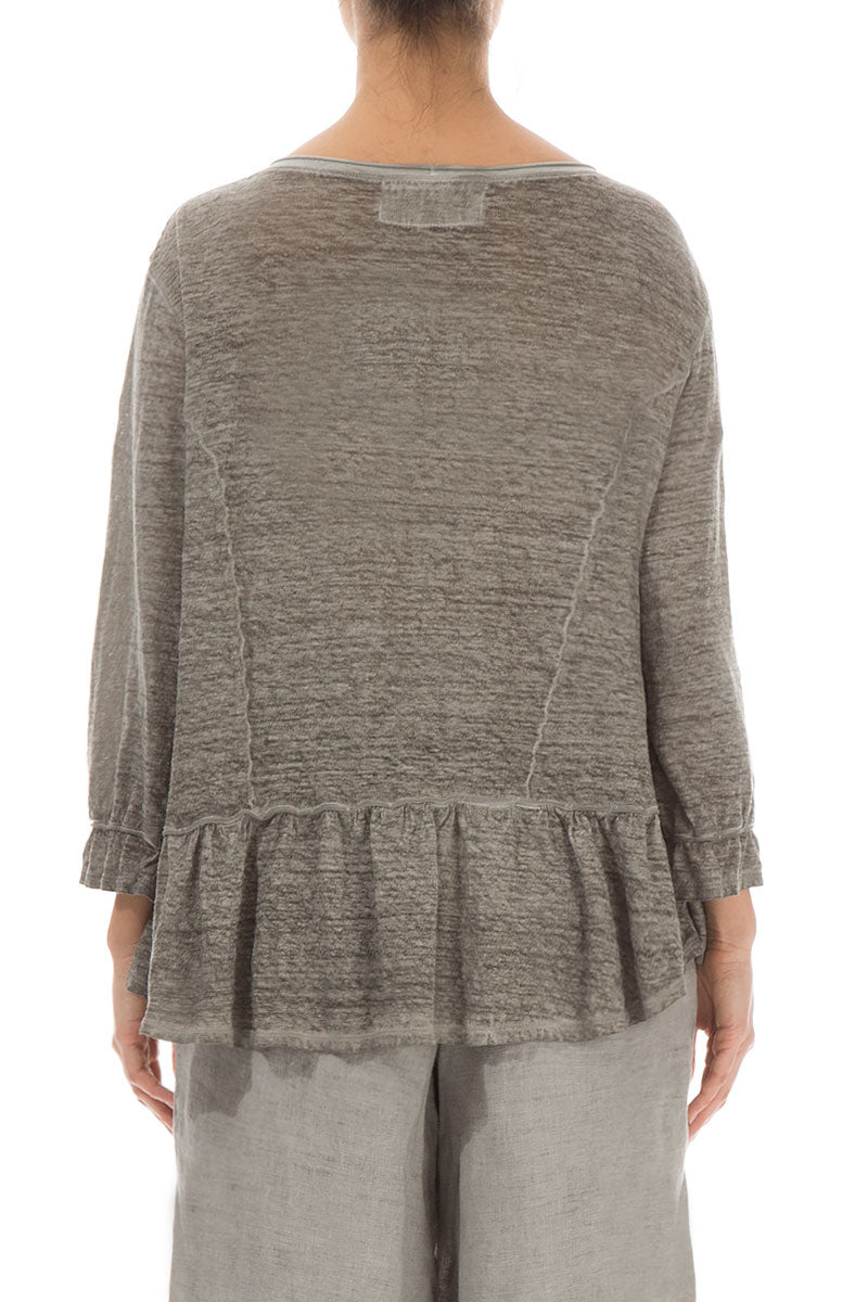Boxy Washed Out Taupe Linen Jersey Blouse