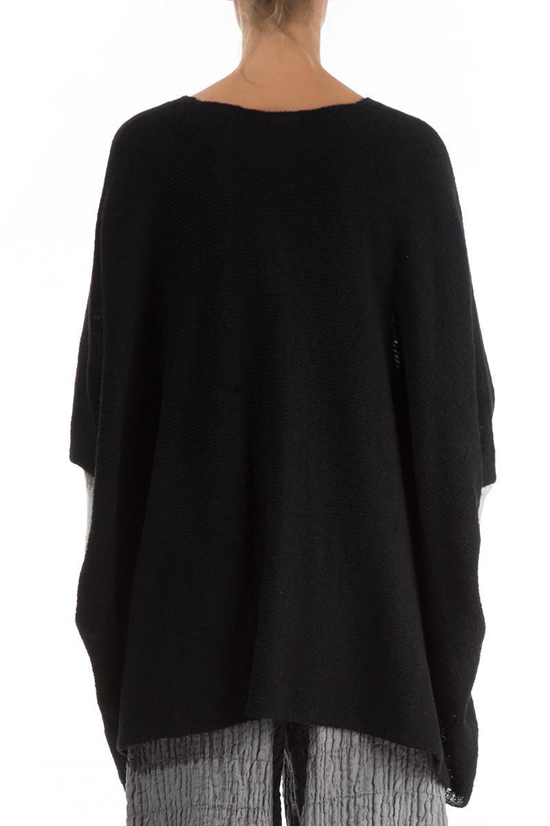 Buttoned Boxy Black Wool Sweater - GRIZAS | Natural Contemporary Womenswear