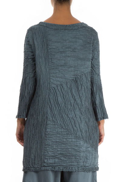 Brass Blue Silk Linen Tunic