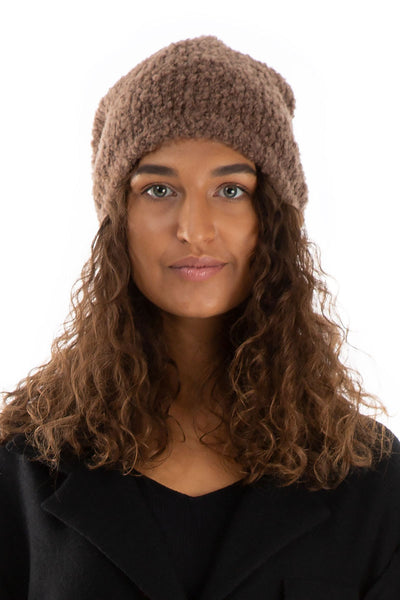 Brown Alpaca Wool Beanie Hat