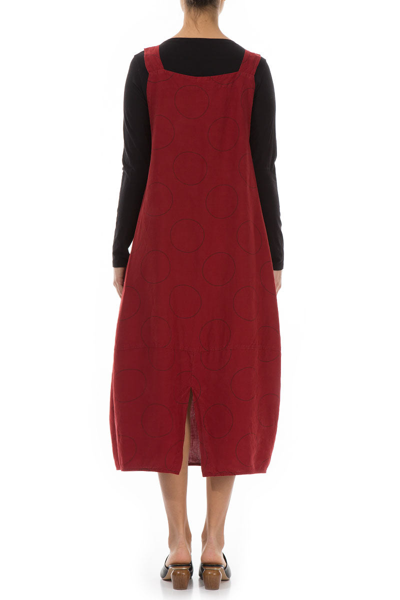 Bubble Red Silk Linen Overall Dress