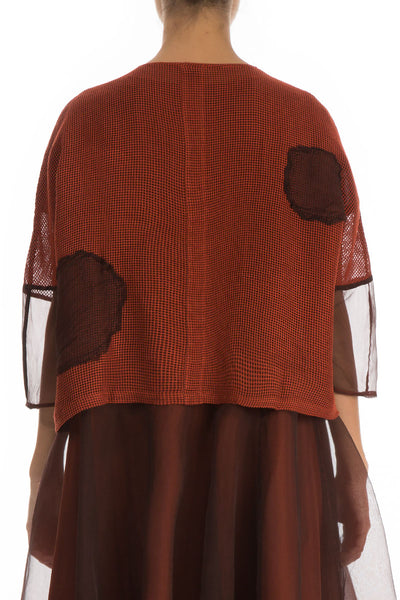 Bubbles Mesh Rust Silk Rayon Jacket