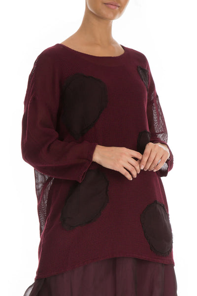 Bubbles Mesh Wine Silk Rayon Tunic