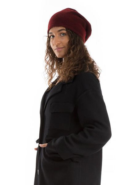 Dark Red Wool Beanie Hat
