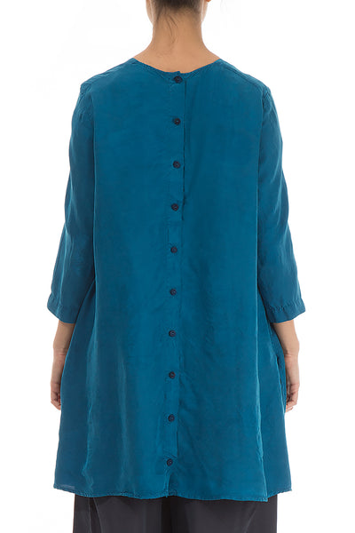 Buttoned Back Blue Silk Tunic