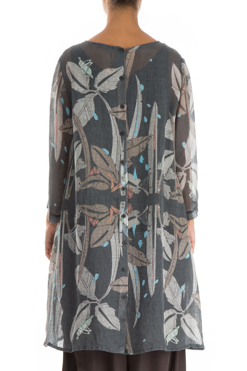 Buttoned Back Leaves Print Mesh Tunic