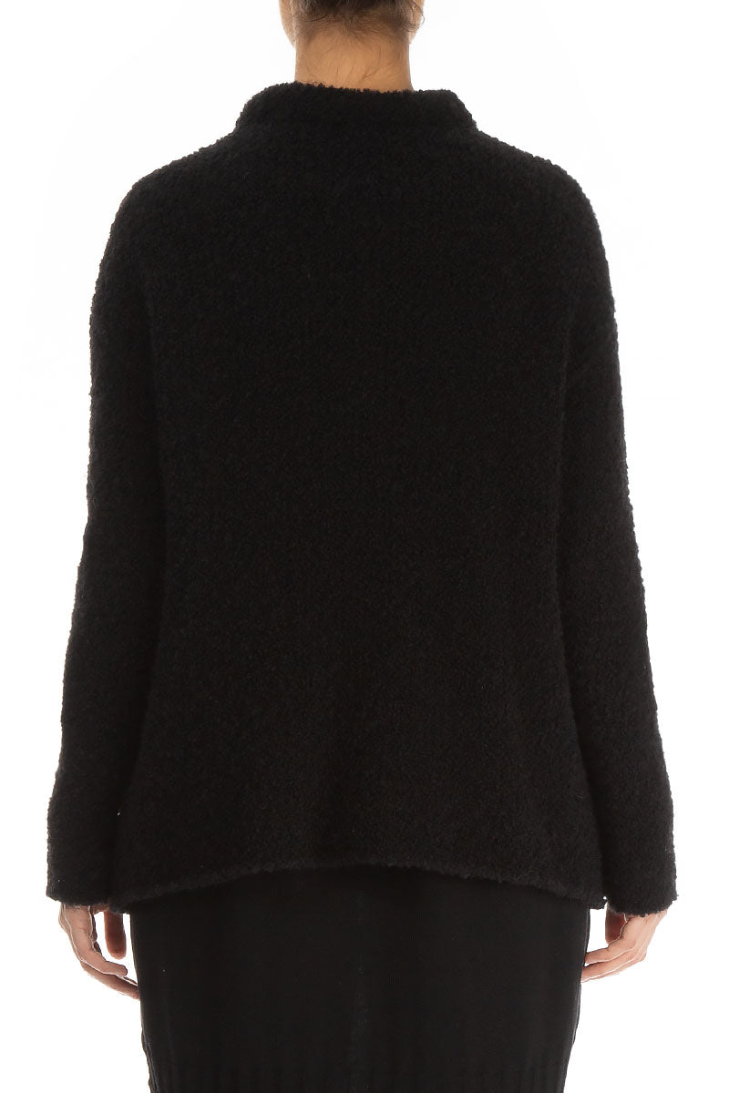 Buttoned Black Alpaca Wool Cardigan