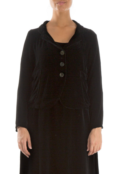 Buttoned Black Silk Velvet Jacket
